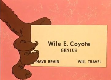Wile e coyote business card have brain will travel14532610621378 medium